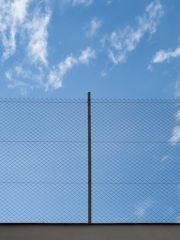 Et billede af et metalhegn, foran en blå himmel med få skyder på.